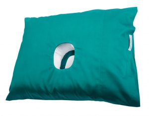 This is a side view of the original CNH pillow in jade