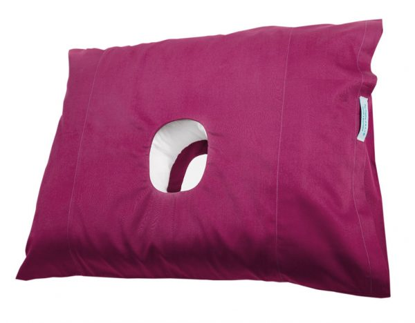 This is a side view of the Original PWAH ear pillow in a plum colour
