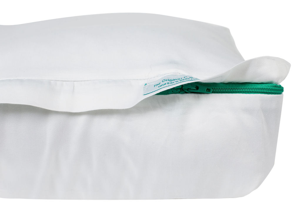 The original pillow with a hole version 2 with label and zip showing