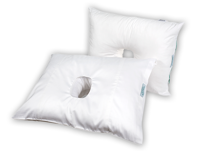 two pillows with holes