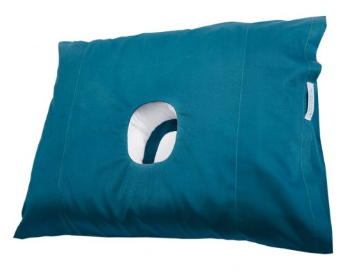 The original pillow with a hole in blue shown from a side view.